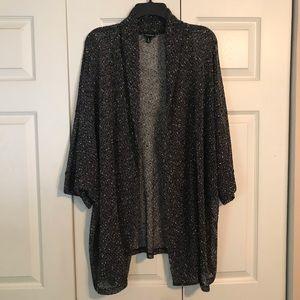 TORRID Size 5 Black White Cardigan Sweater Gauzy